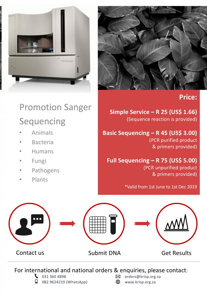 Promotion Sanger Sequencing at Genomics Africa and KRISP, 1 July to 31 December 2019